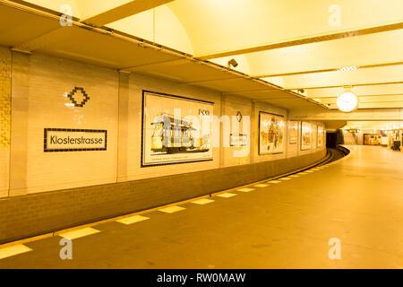 Berlin, Germany - December 19, 2017. The Klosterstrasse U-Bahn station. - Stock Photo