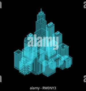 Vector Isometric Holography City. - Stock Photo