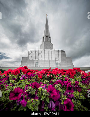 The Preston England Temple, 52nd operating temple of The Church of Jesus Christ of Latter-day Saints (LDS Church), Chorley, Lancashire, UK. Built in19 - Stock Photo