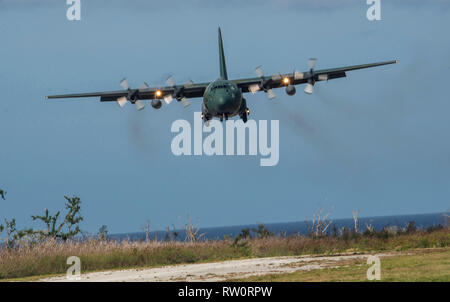 A C-130H Hercules from the Japan Self-Defense Force prepares to land at Tinian, U.S. Commonwealth of the Northern Marianas Islands Feb. 27, 2019 during exercise Cope North 19. Through exercises and engagements during Cope North, the United States Air Force, Japan Air Self-Defense Force and Royal Australian Air Force increase interoperability for humanitarian assistance and disaster relief operations. (U.S. Air Force photo by Master Sgt. JT May III) - Stock Photo