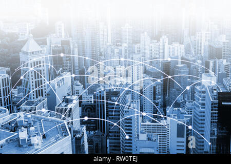 Modern urban skyline with high-speed data and internet communication network. Concept of cyber network in big city with copy space. - Stock Photo