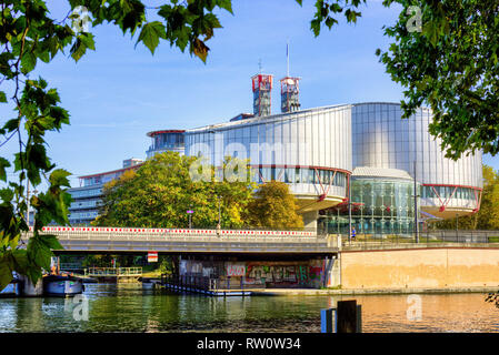 STRASBOURG, FRANCE - European Court of Human Rights in Strasbourg building - Rule of law for European countries, October, 12 , 2018,