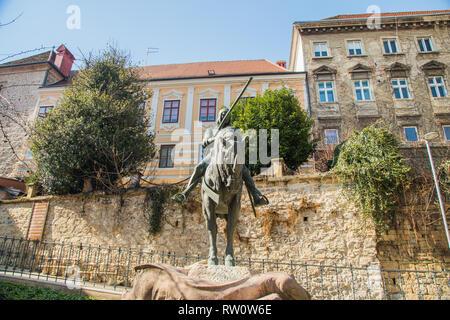 Equestrian Statue of St. George and the Dragon in Zagreb, Croatia - Stock Photo