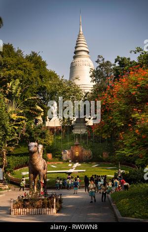 Cambodia, Phnom Penh, City Centre, Wat Phnom, central landmark pagoda on hilltop above ancient temple - Stock Photo