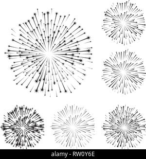 Set of fireworks, part 4, black shadow isolated on white background, vector illustration - Stock Photo