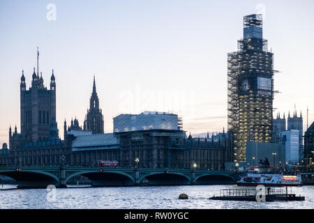 Houses of Parliament,Big Ben,clock,tower,with,scaffold,scaffolding,under,renovation,River Thames,Westminster,city,of,London,capital,England,English, - Stock Photo