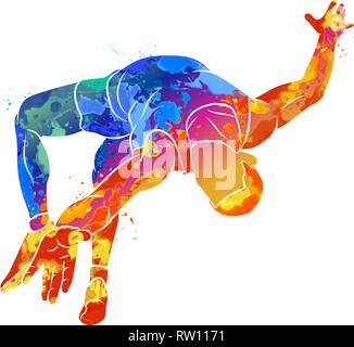 Abstract athlete jumps in height from splash of watercolors - Stock Photo