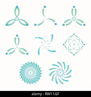 Set of abstract symmetric geometric shapes, symbols for your design. Isolated vector color shapes. - Stock Photo