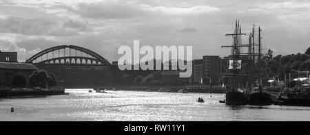 Monochrome image of Tall Ships at Port of Sunderland in North East England - Stock Photo