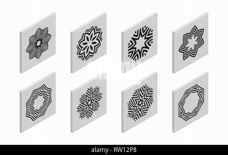 Isometric icons with abstract symmetric symbols. Flat 3D tiles, geometric logos, isolated on light gray background. Vector illustration. - Stock Photo