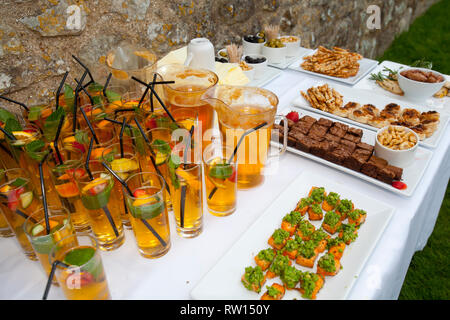 Tourism Cocktail Party, Garden, English Heritage, Carisbrook Castle, England, Isle of Wight - Stock Photo