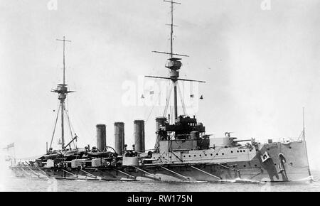 HMS Achilles warrior class armoured cruiser built for the royal navy in 1905  Image updated using digital restoration and retouching techniques - Stock Photo