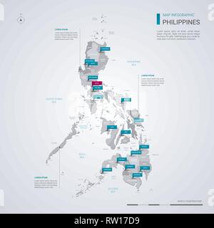 Philippines vector map with infographic elements, pointer marks. Editable template with regions, cities and capital Manila. - Stock Photo
