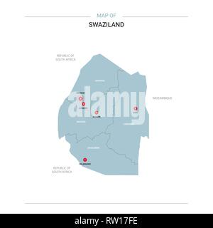 Swaziland vector map. Editable template with regions, cities, red pins and blue surface on white background. - Stock Photo
