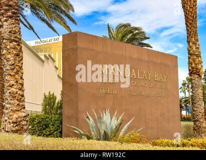 LAS VEGAS, NV, USA - FEBRUARY 2019: Wide angle view of the sign outside the Mandalay Bay Hotel and Resort on Las Vegas Boulevard. - Stock Photo