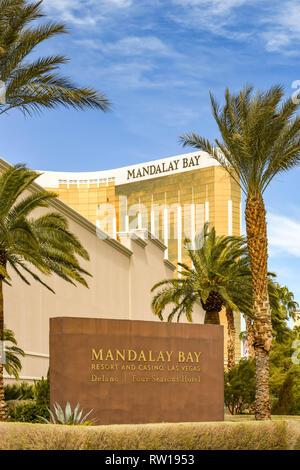 LAS VEGAS, NV, USA - FEBRUARY 2019: Exterior wide angle view of the Mandalay Bay Hotel and Resort on Las Vegas Boulevard. - Stock Photo