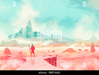 Apocalyptic landscape and post-apocalyptic fiction, a warrior with a spear looking from a cliff a city on the horizon. Sci-fi, scientific fiction - Stock Photo