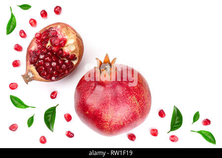 pomegranate with leaves isolated on white background. Top view. Flat lay pattern - Stock Photo