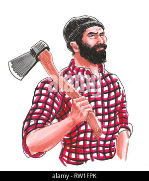 Canadian logger with an ax tool. Ink and watercolor illustration - Stock Photo