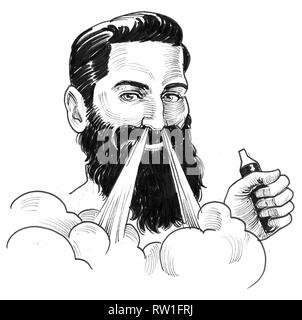 Bearded smiling man with a vaporizer. Ink black and white drawing - Stock Photo