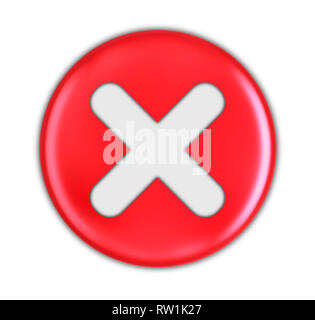Button with cross. Image with clipping path - Stock Photo