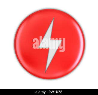 Button with Lightning. Image with clipping path - Stock Photo