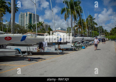 Star Class Racing Yachts lined up at the Coral Reef Yacht Club, Bacardi Cup Invitational Regatta 2019 - Stock Photo