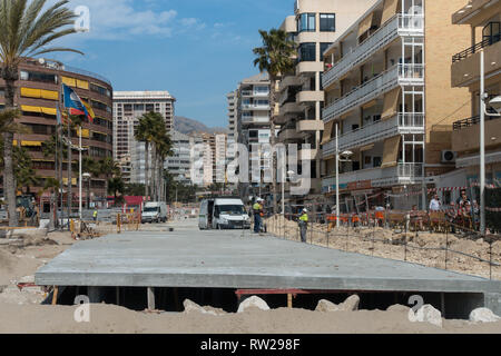 Marina Baixa Avenida, La Cala de Finestrat, Benidorm, Spain, 04 March 2019. Construction of a large double culvert below ground to take flood waters from the route of the old riverbed is nearly complete. The ravine had previously been paved over and the resulting floodwater ran down the road above ground resulting in 3 deaths in recent years. In 2017 a man was filmed being swept to his death here. Credit: Mick Flynn/Alamy Live News - Stock Photo