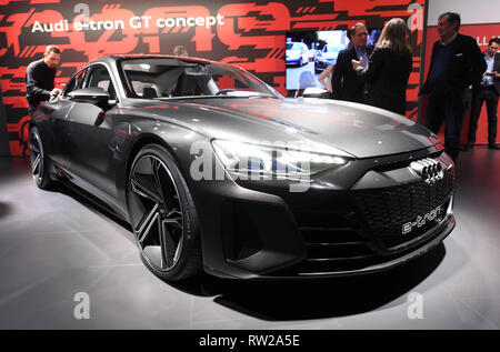 Genf, Switzerland. 04th Mar, 2019. At the Volkswagen (VW) Group evening, the electrically powered Audi e-tron GT concept will be presented in the run-up to the Geneva Motor Show. Credit: Uli Deck/dpa/Alamy Live News - Stock Photo