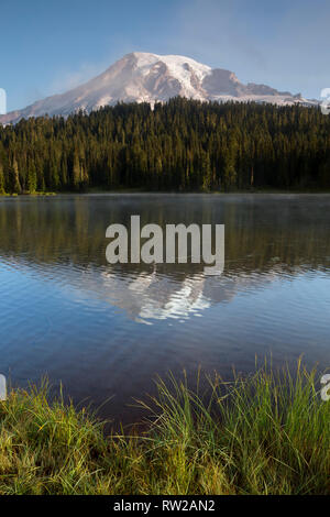 WA15842-00...WASHINGTON - Mist clearing in the early morning hours at Reflection Lakes in Mount Rainier National Park. - Stock Photo