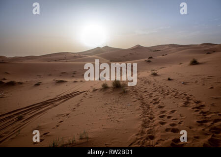 The sun hangs over the camel track covered desert,  Merzouga, Morocco Sahara Desert - Erg Chabbi dunes - Stock Photo