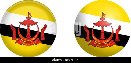 'Nation of Brunei, the Abode of Peace' flag under 3d dome button and on glossy sphere / ball. - Stock Photo