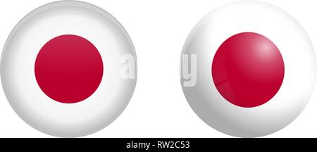 Japan flag under 3d dome button and on glossy sphere / ball. - Stock Photo