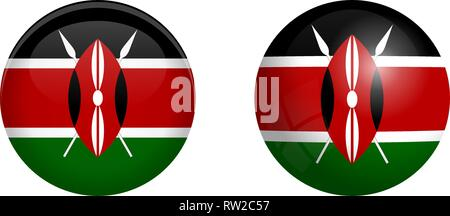 Kenyan flag under 3d dome button and on glossy sphere / ball. - Stock Photo