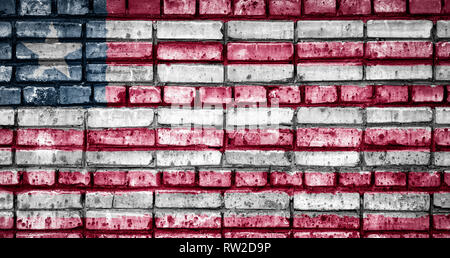 National flag of Liberia on a brick background. Concept image for Liberia: language , people and culture. - Stock Photo