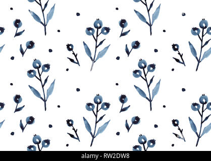 Blue berries plant tree leaves watercolor botanical illustration, hand-drawn seamless pattern in Scandinavian Nordic style for decorative print or pos - Stock Photo
