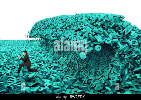 Big data concept. Businessman running in a tsunami wave of computer data, huge amount of numbers and letters, isolated on white background. - Stock Photo