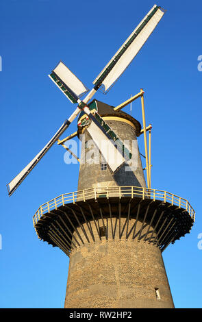 Windmill in Schiedam, Rotterdam, The Netherlands - Stock Photo
