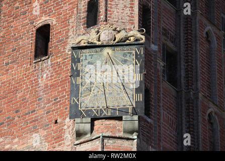 Sundial on Gdansk Main Town Hall building - Stock Photo