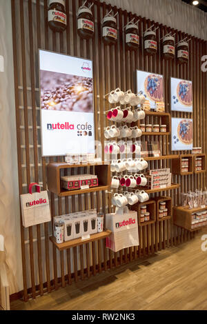 A wall inside the new NUTELLA CAFE on University Place near Union Square Park in lower Manhattan, New York City. - Stock Photo