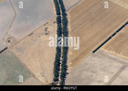 Aerial photography of Victorian countryside and farms during drought - Stock Photo