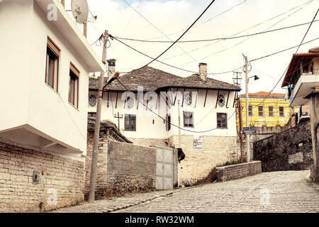 Gjirokaster, Albania - March, 2019: Downtown of Gjirokaster, a UNESCO World Heritage site in south of Albania