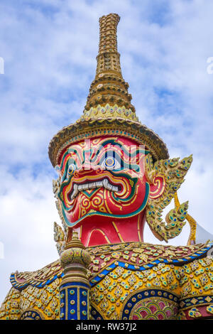Yaksha statue in Grand Palace complex, Bangkok, Thailand - Stock Photo