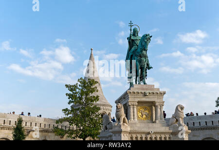Statue of St Stephen; (King Stephen) first king of Hungary on Castle Hill, Budapest, capital city of Hungary. - Stock Photo