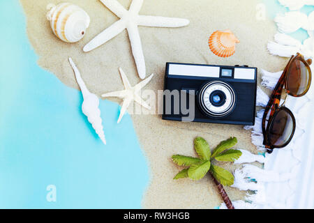 Summer travel accessories - summer travel concept - Stock Photo