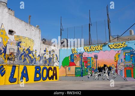 BUENOS AIRES, ARGENTINA, JUNE 18, 2018: Murga graffiti soccer field, La Boca, Buenos Aires, Argentina on June 18, 2018 - Stock Photo