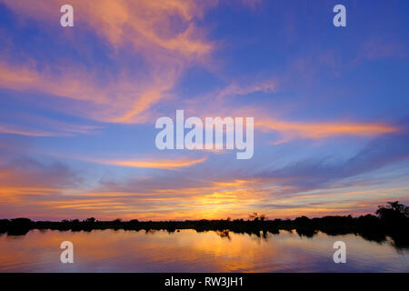 Paraguay River at sunrise in the region of Corumba, Pantanal, Mato Grosso do Sul, Brazil - Stock Photo