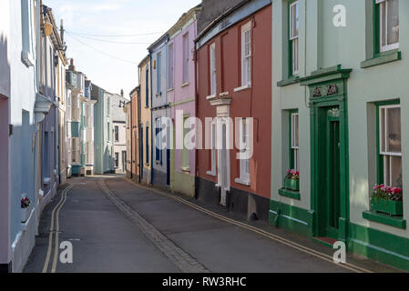 Appledore, North devon, England, UK. February 2019. Very narrow street of terraced homes in this popular seaside Devonshire town in winter - Stock Photo