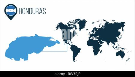 Honduras map located on a world map with flag and map pointer or pin. Infographic map. Vector illustration isolated on white - Stock Photo