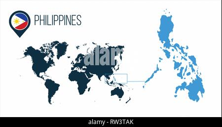 Philippines map located on a world map with flag and map pointer or pin. Infographic map. Vector illustration isolated on white . - Stock Photo